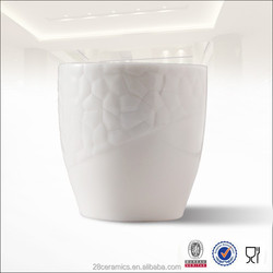 Free Sample Wholesale White Emboss Ceramic Coffee Cup