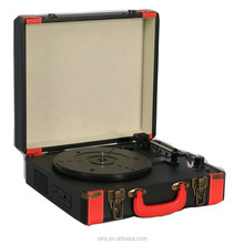 bluetooth retro turntable suitcase vinyl record player with USB port