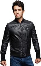 Wholesale cuff band leather jacket windproof baseball sport jacket