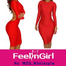 venta al por mayor a todo color rojo sexy de manga larga vestido midi