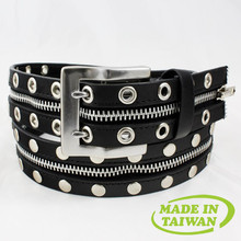 Bullet and stud punk leather belt punk goth rockabilly Taiwan made