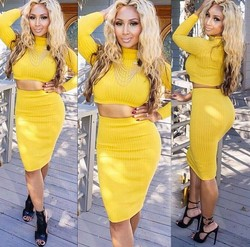 2015 Sexy Two Piece Long Sleeve Knit Sweater Party Dress Bandage Bodycon Dress
