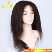 Top Quality Indian Virgin Remy Hair Italian Yaki Full Lace Wig With Baby Hair Indian Kinky Straight Wig With Silk Base