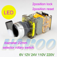 diameter 22mm metal head 2position /3position rotary selector switch with led 6V 12V 24V 110V 220V LED electrical rotary switch
