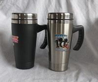 Double wall S/S travel coffee tumbler with handle