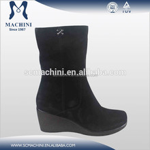 Genuine leather black suede wedge bootie