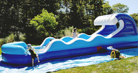 china wholesale Kids long aqua park inflatable water slide for rent