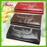 High clearly crocodile shape embossing with plain line deisng leather purses and wallets for women