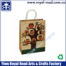 Color printing handle coating high quality design paper bag with owl printing