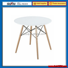 2014 new design top wood legs dining table (GY-807)