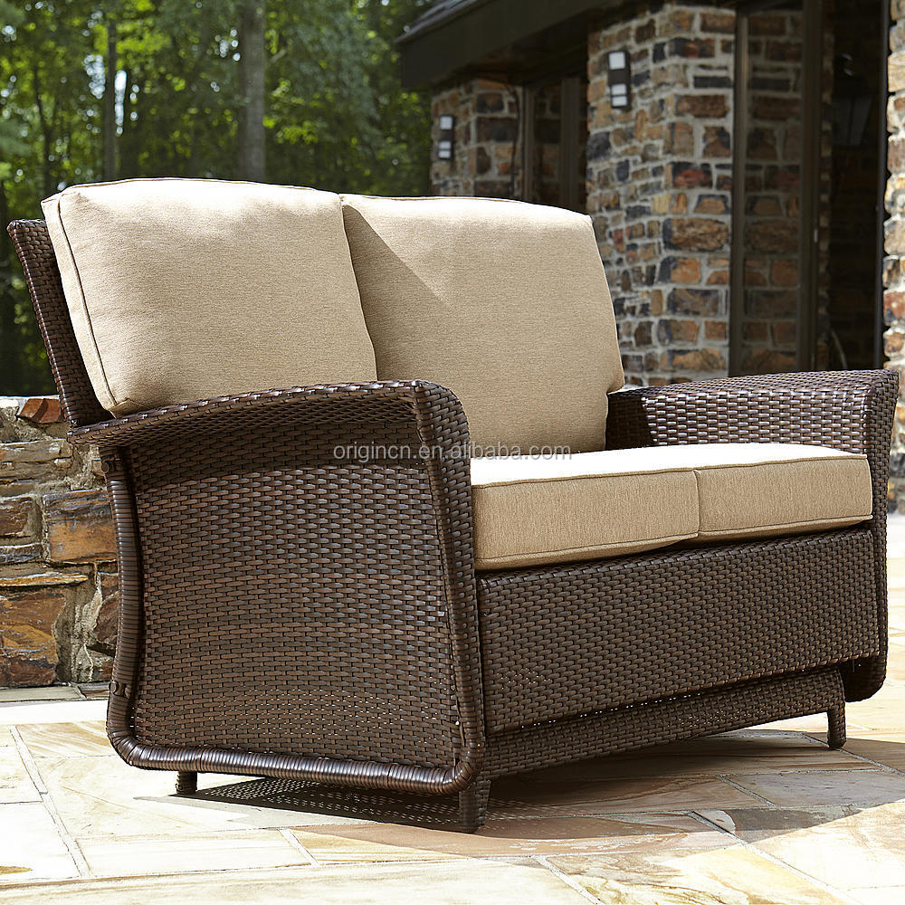 Deluxe parkside style wicker outdoor garden patio loveseat double seat glider buy glider patio Garden loveseat