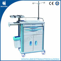 Quality BT-EY006 ABS emergency plastic trolley cart medical crash cart hospital emergency trolley equipment