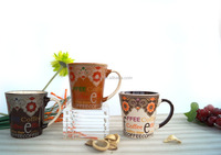 Porcelain brown tea coffee cup with logo coffee character