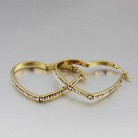 KSF cheap trendy 18K gold stainless steel heart earrings pave diamond
