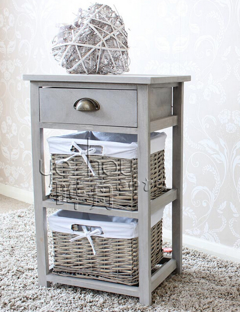 Vintage Drawer With Two Wicker Baskets Tall Storage Unit