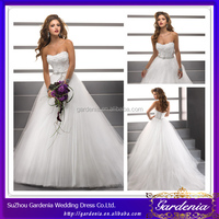 High Quality Brand Name Beautiful Bling Wedding Dresses Ball Gown Sweetheart Low Back Appliqued Bodice Big Tulle Skirt (AB0061)