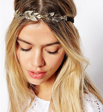 Fashion Rhinestone Gold Plated Olive Leaf Elastic Headband Headpiece Women Girls Wedding Party Hair Accessories