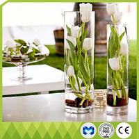 Simple style clear vase cylinder 30cm glass jardiniere tall flower vase