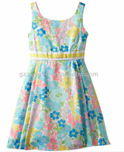 Flores al por mayor imprimen smocking niños vestidos de fiesta vestidos de ropa para niños lindos