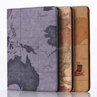 New arrival stand leather case for iPad air 2 with map design