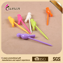 disposable colorful plastic fruit stirrer with bird shape plastic fruit pick