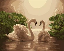 oil painting on canvas by numbers handmaded digital paintings swan picture yiwu wholesales GX6958 paint boy brand