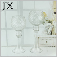 wholesale embossed clear goblet pineapple glass candle holder