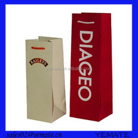 Luxury design offset printing holiday wine bottle gift bags for sale