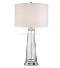 Metal and Glass Table Lamp with USB Plug for USA market