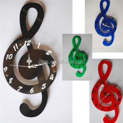 Musical Notes shape fashional stylish colorful acrylic wall clock