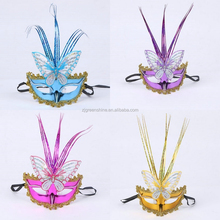 Newest Design 2015 Feather Venetian Decorative Women Party Halloween Mask,Butterfly Mask For Halloween And Dance Party