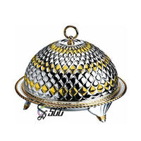 Gold & Silver Plated Stainless Steel Serving Plate with Decorative Lid(Dome and Plate)