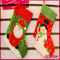 Funny snowman design nonwovens christmas sock,2015 popular bulk wholesale light up christmas socks free sample