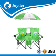 folding double cooler beach chair with umbrella