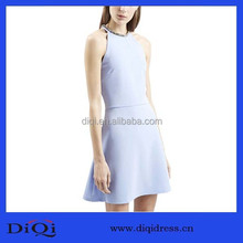 Ice blue collar decoration sleeveless wedding dresses