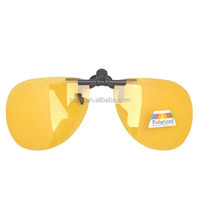 Yellow polarized lens night vision driving clip on sunglasses