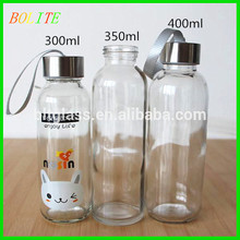 300ml Drinking Sports Glass Water Bottles color printing bottles