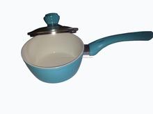 Hot sale white ceramic coating milk pot with lid