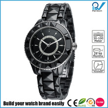 PVD Rosegold/Silver black ceramic case crystal diamond and ceramic band women crystal sapphire ceramic watch
