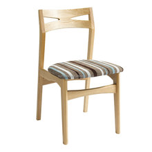 natural high back wood chair with cushion