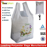 Snap pouch design 190T Polyester folding shopping bag, folding bag