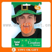 Orange plush novelty Goatee, facial hair, artificial mustache for St patrick day decorations