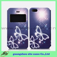 Flip with diomand window view cell phone case For Samsung galaxy S5 leather tpu case with good quality