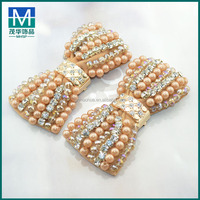 New designer glass bead satin bow crystal rhinestone shoe clips