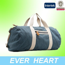 military travle blue cotton canvas duffle bag