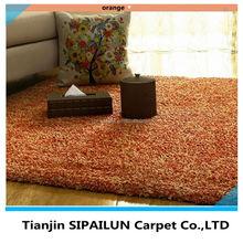 Hand tufted M6 Yarn super soft orange and comfortable plain Shaggy Carpet