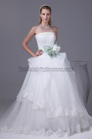 Celebrity Inspired Taffeta Organza Fabric Summer Pure Color Wedding Dresses With Court Train