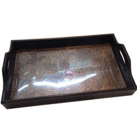 faux leather tray for wedding with handle