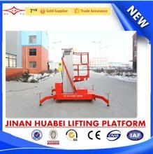 two wheel moving single mast aluminum alloy hoist elevating hydraulic ladder