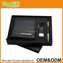 Business man gift set in black colour with high quality wallet keychain and pen